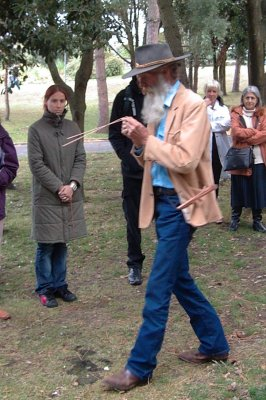 Slim dowsing Geopathic stress lines at the Bournemouth workshop 2005